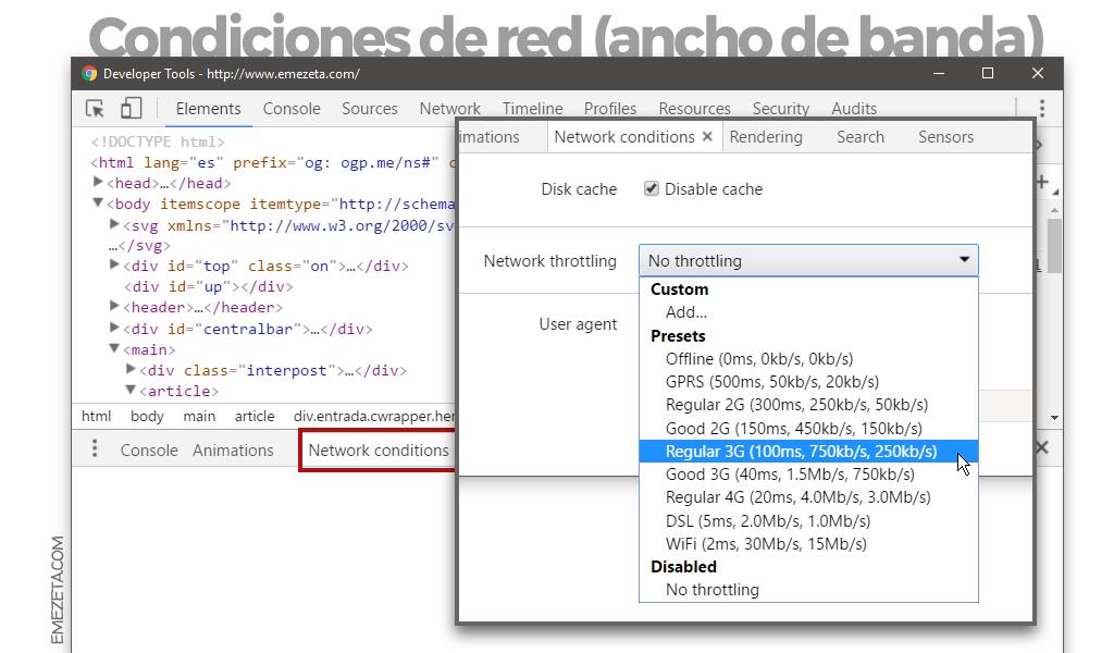 Emular conexión movil en Chrome