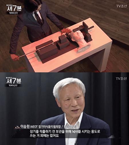 """原发性脑干损伤撞击机""""是为了获得完整的器官,让人瞬间进入脑死亡状态的中国开发的杀人装置(照片=TV朝鲜""""调查报道7""""截图)"""