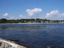 Newcastle Beach at high tide.