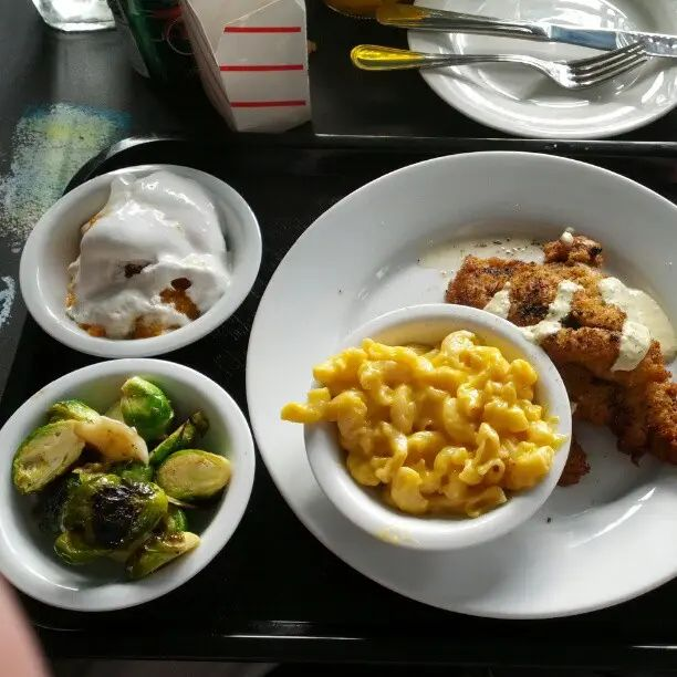 Fried catfish, Brussels sprouts, sweet potato casserole, and Mac & cheese