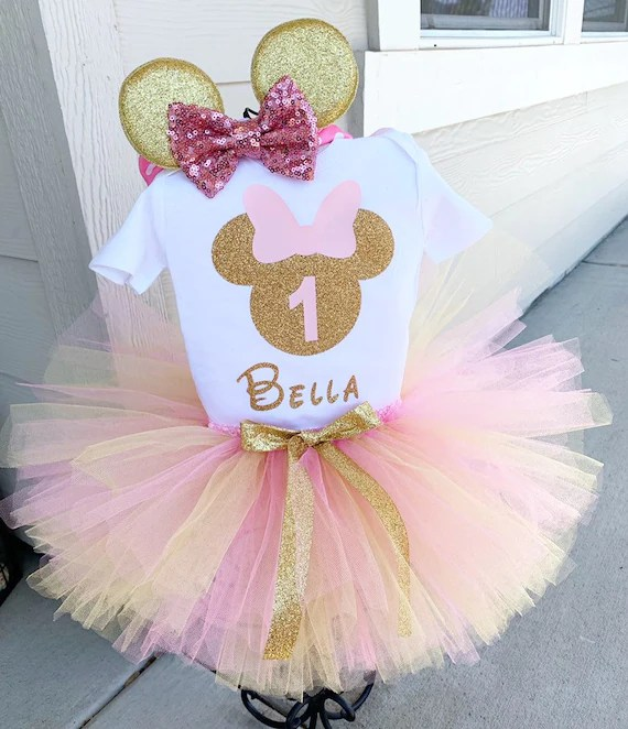 Personalized Pink And Gold Minnie Mouse First Birthday Outfit Etsy