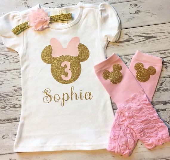 Rosa Und Gold Personalisierte Minnie Mouse 3 Geburtstag Etsy