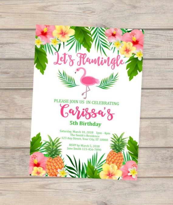 flamingo birthday invitation tropical