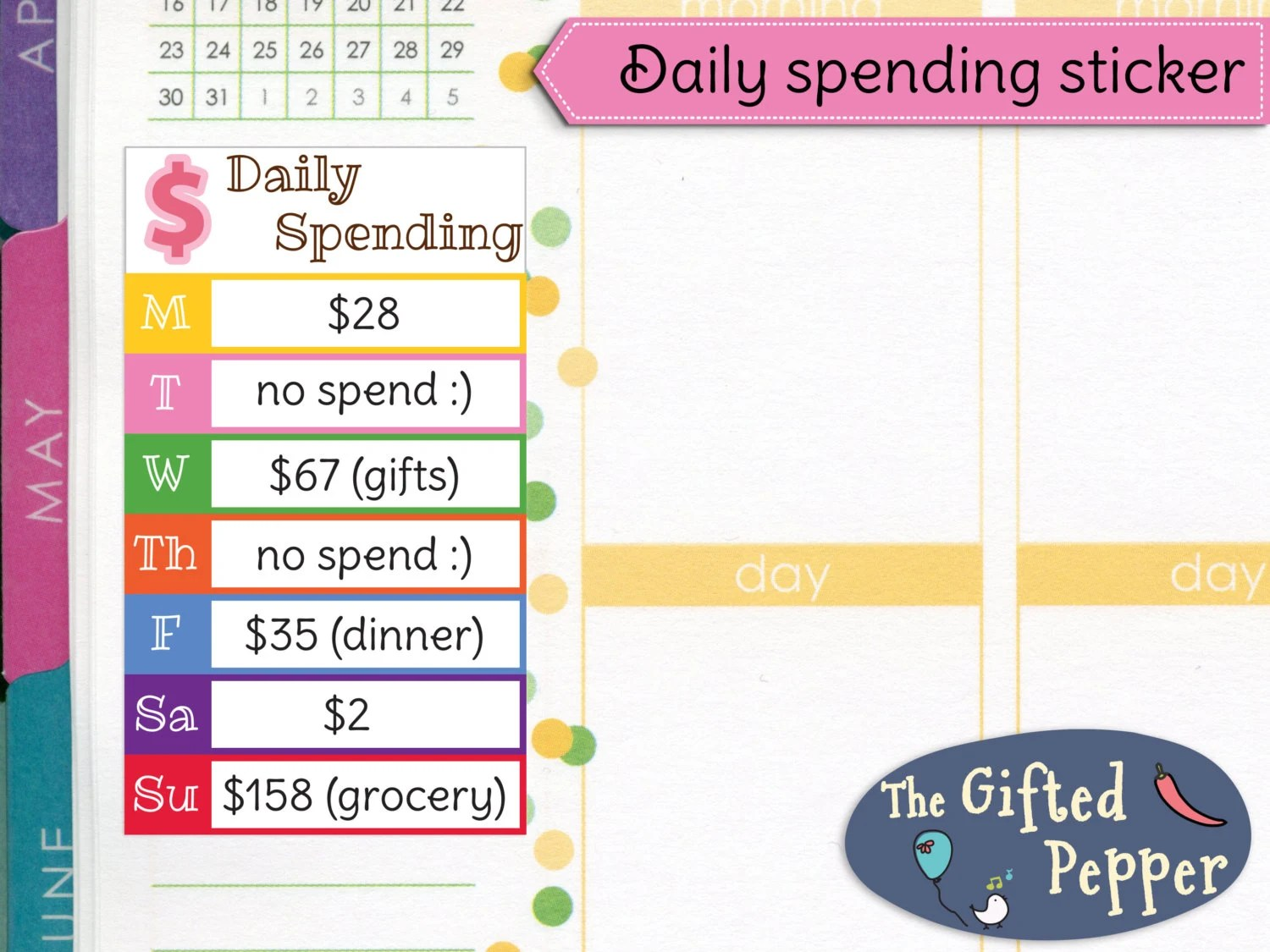 Daily Spending Stickers Printable Expense Log Budget Plan