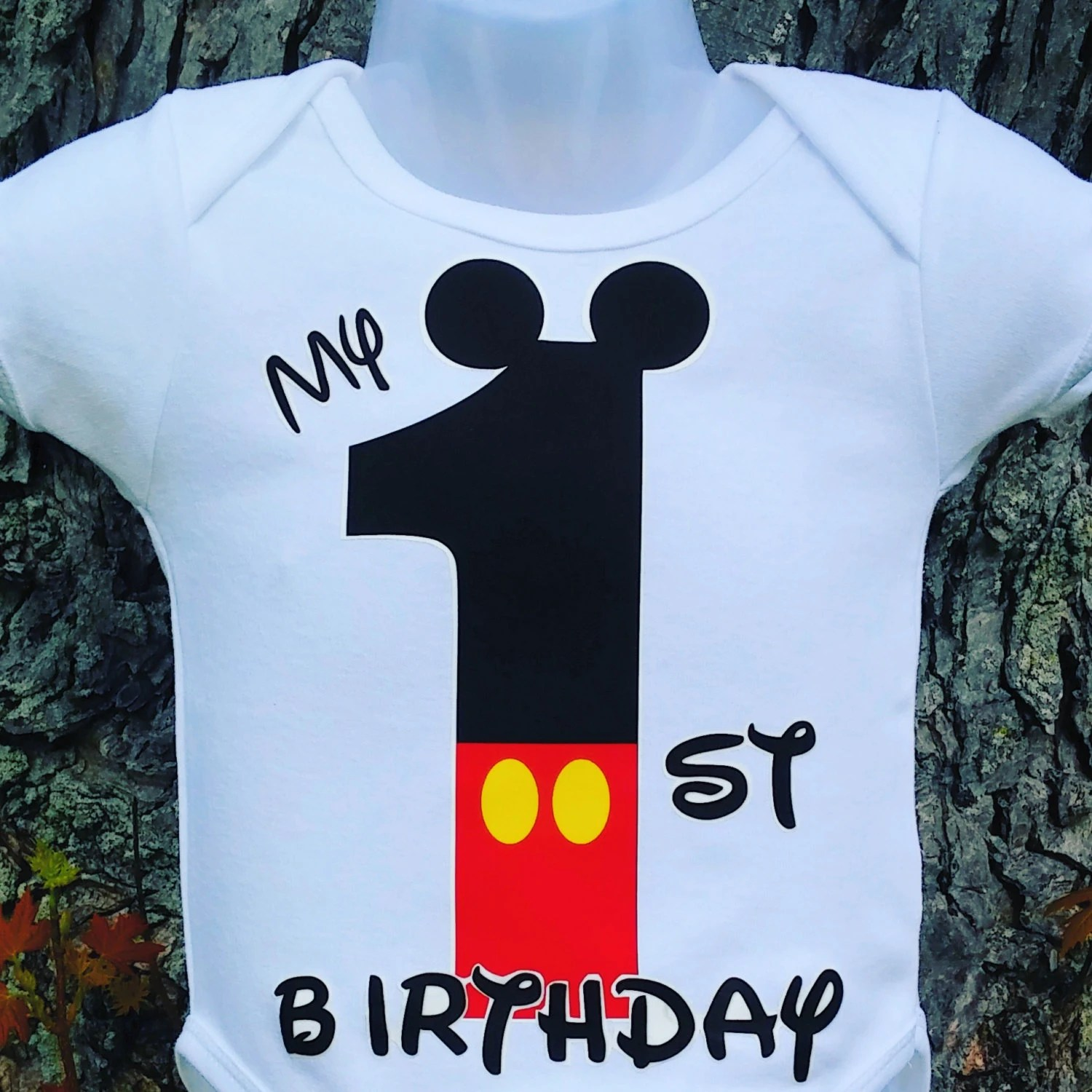 My First Birthday Mickey Mouse T Shirt Etsy
