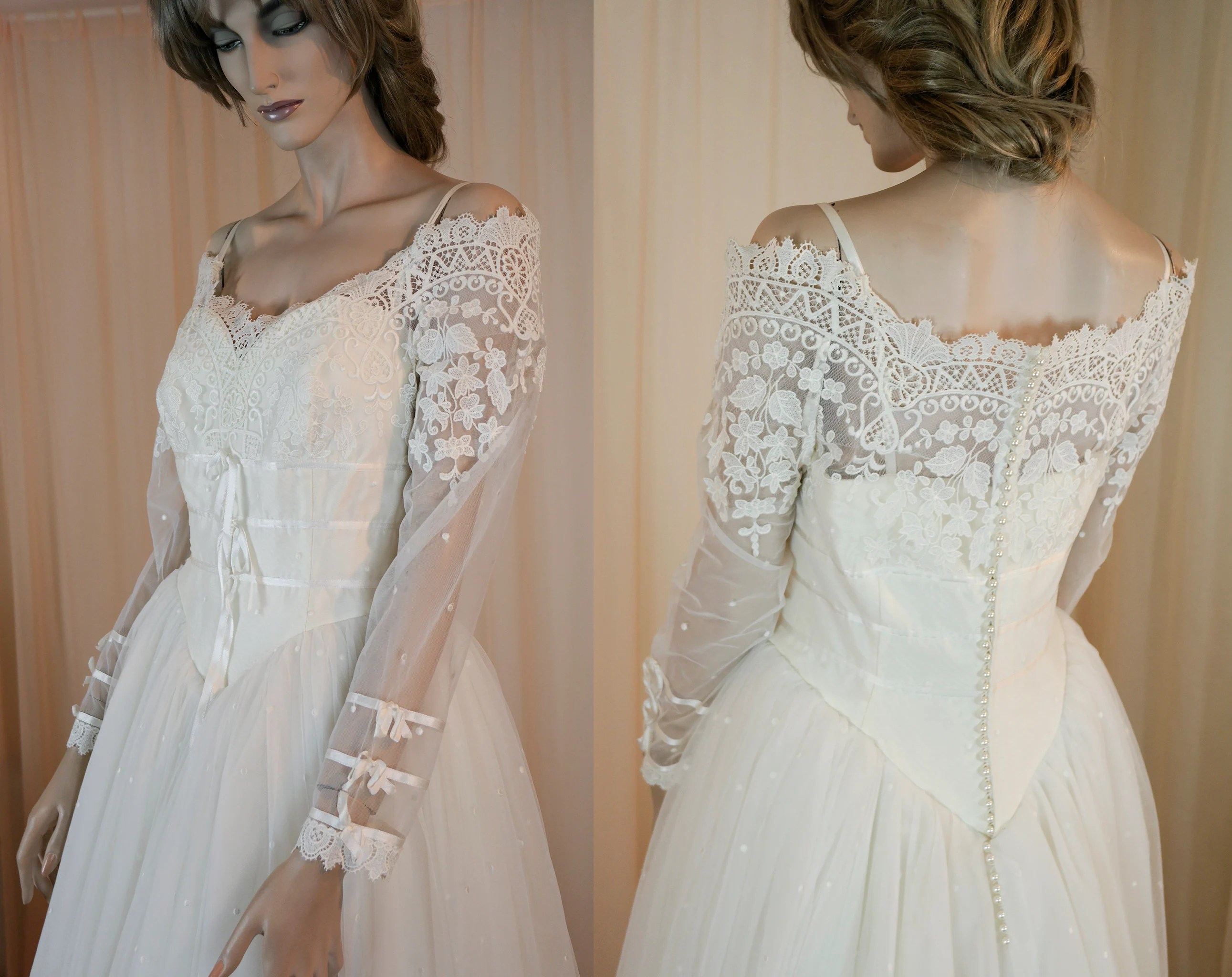Romantic Wedding Dress 80's Ball Gown Cinderella Style