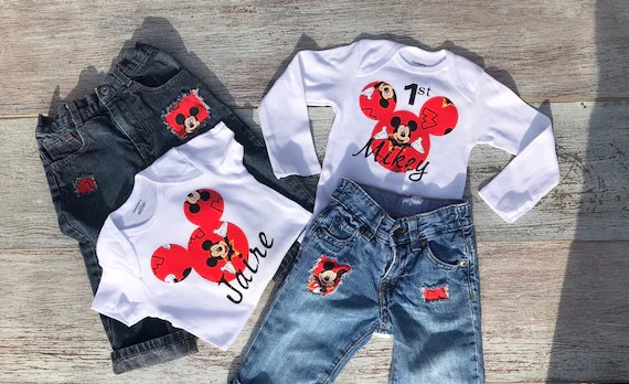 Mickey Mouse First Birthday Outfit Mickey Mouse Onesie Etsy