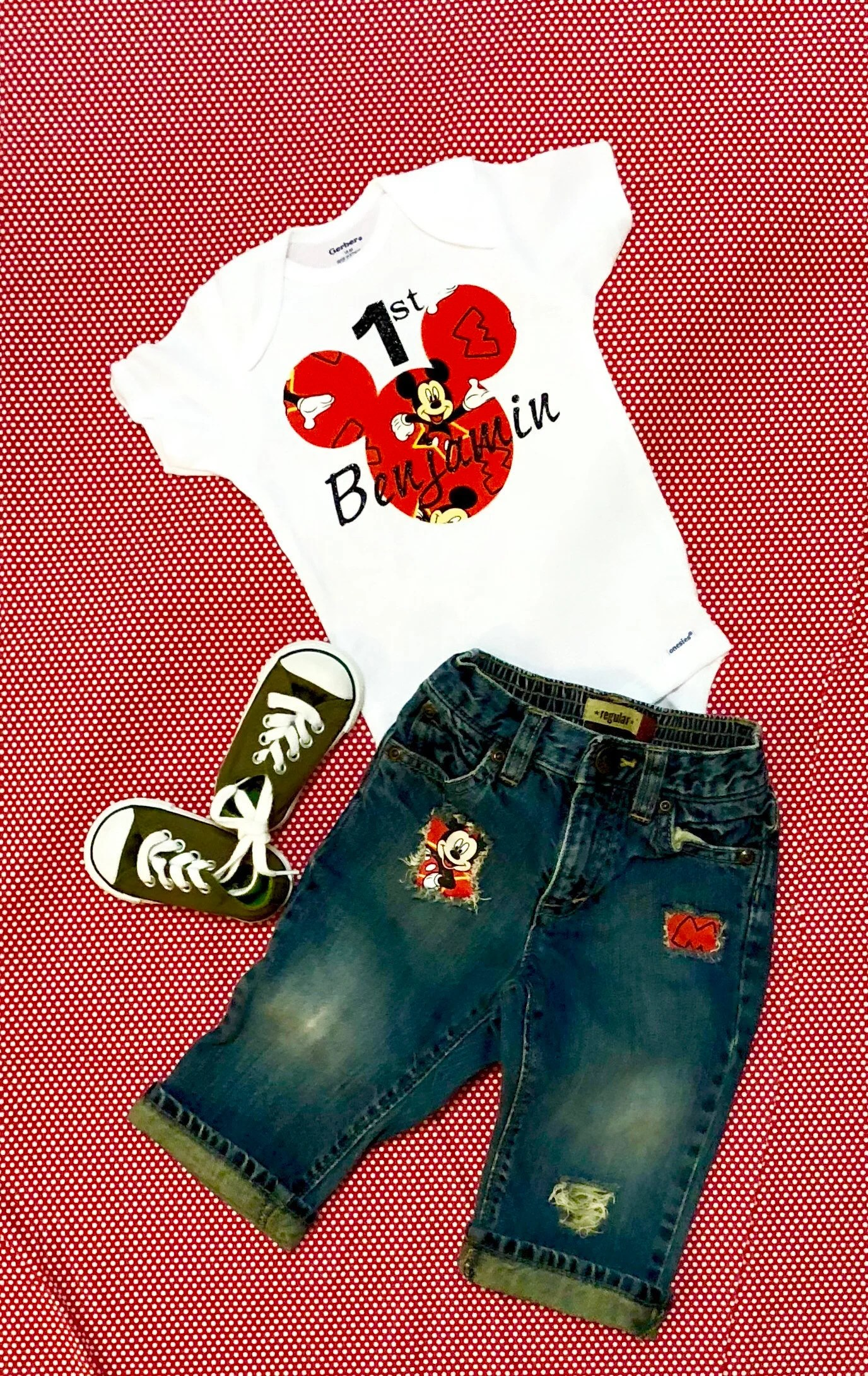 Mickey Mouse First Birthday Outfit Baby Boys First Mickey Etsy
