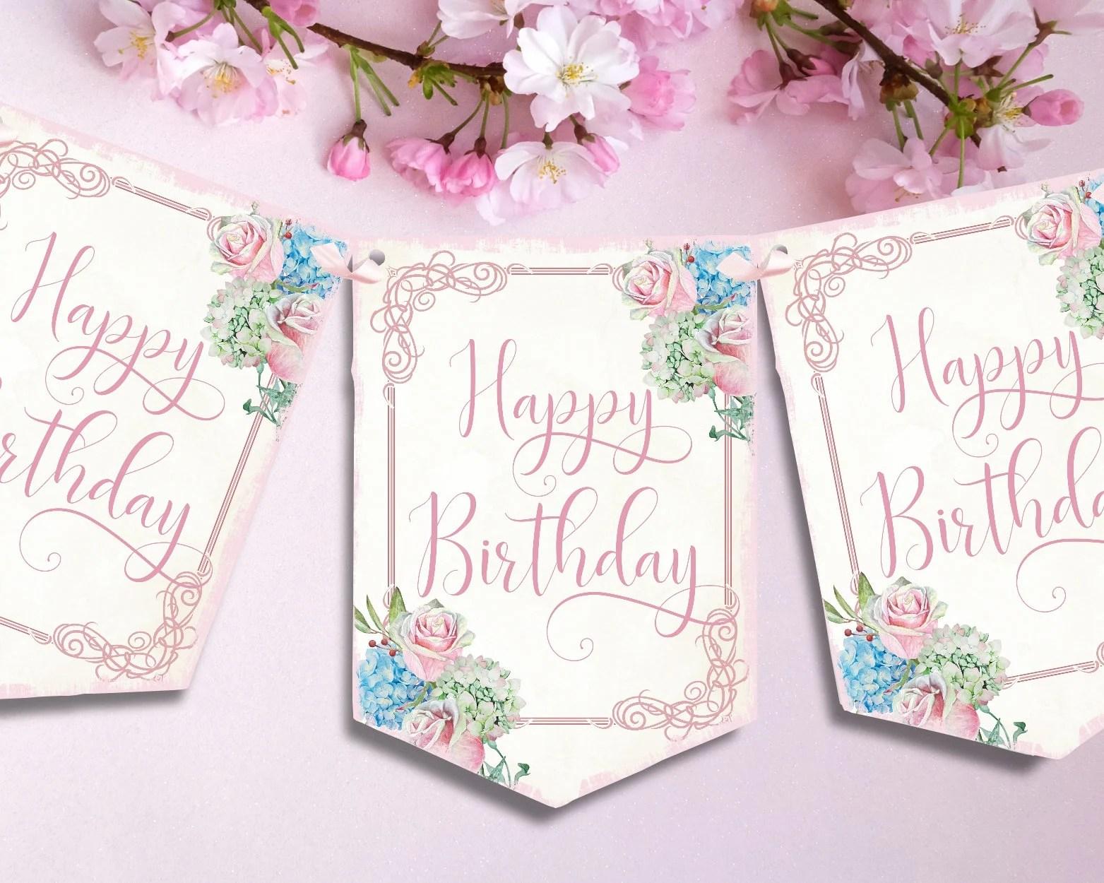 Shabby Chic Flower Happy Birthday Bunting Pink Rose Bunting Etsy