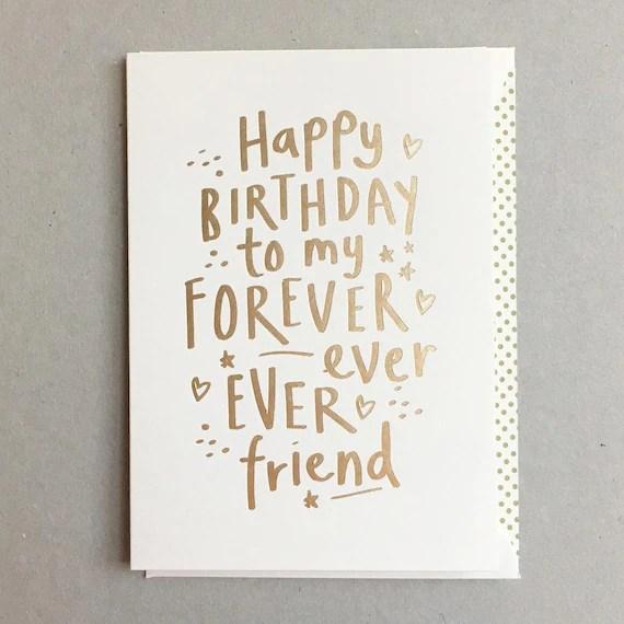 Happy Birthday Forever Friend Greeting Card Etsy