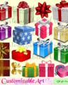 Gift Box Clipart Digital Gift Boxes Clip Art Gift Wrap Silver Etsy