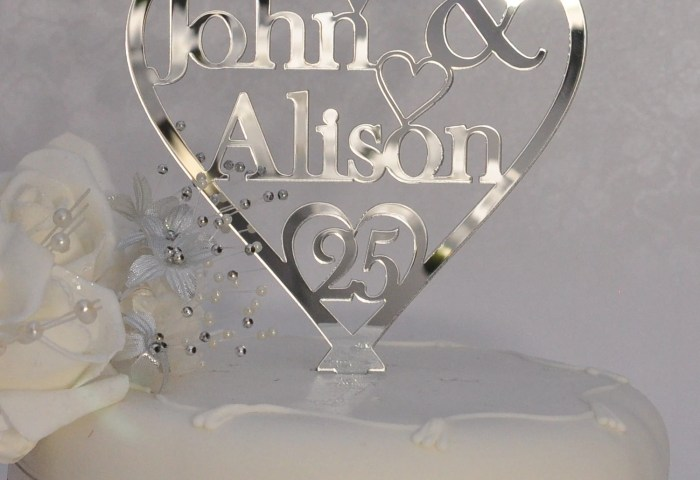 25th Silver Wedding Anniversary Cake Topper Personalised Heart Etsy