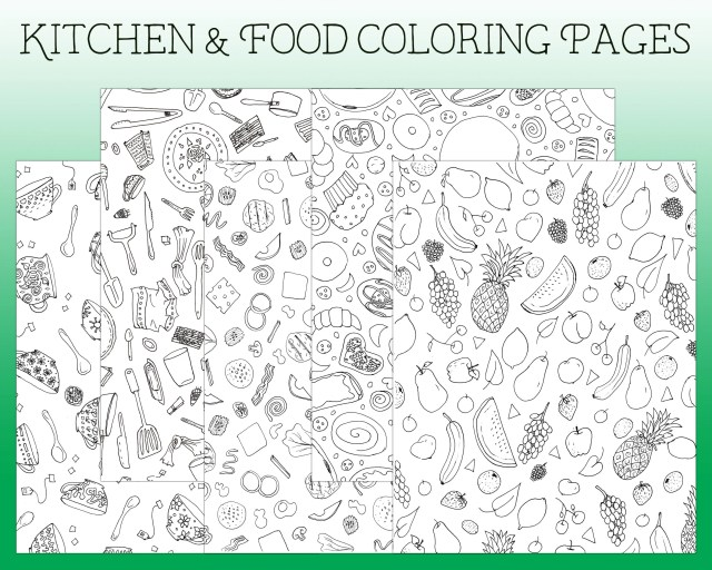 Coloring Pages - Kitchen Coloring Page - I Spy Coloring Page - Printable  Coloring - Colouring Pages - Kitchen Coloring Book - Fruit Coloring