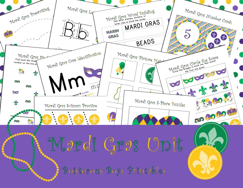 Mardi Gras Thematic Preschool Printable Learning Pack