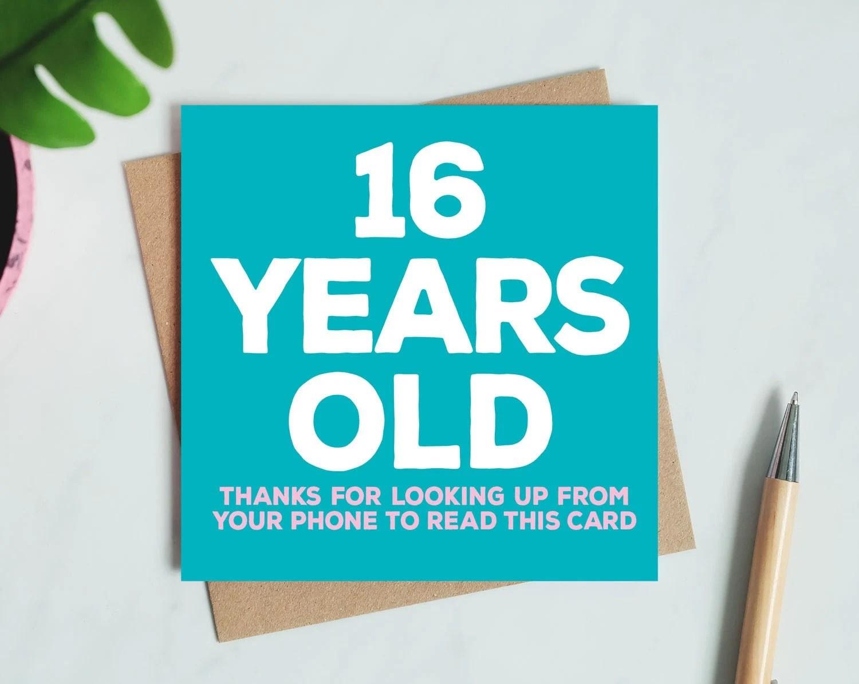 16th Birthday Card Etsy