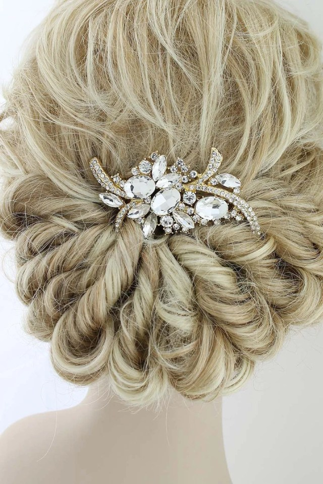 bridal hair piece, bride hair comb, gold wedding hair clip, statement headpiece, vintage wedding hair accessories, gold crystal comb