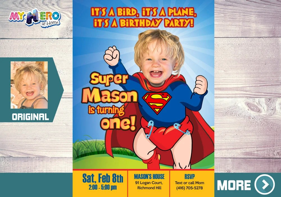 baby superman 1st birthday invitation
