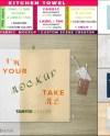 Kitchen Folded Towel On Wood Bar Photoshop Fabric Mockup Jpg Etsy