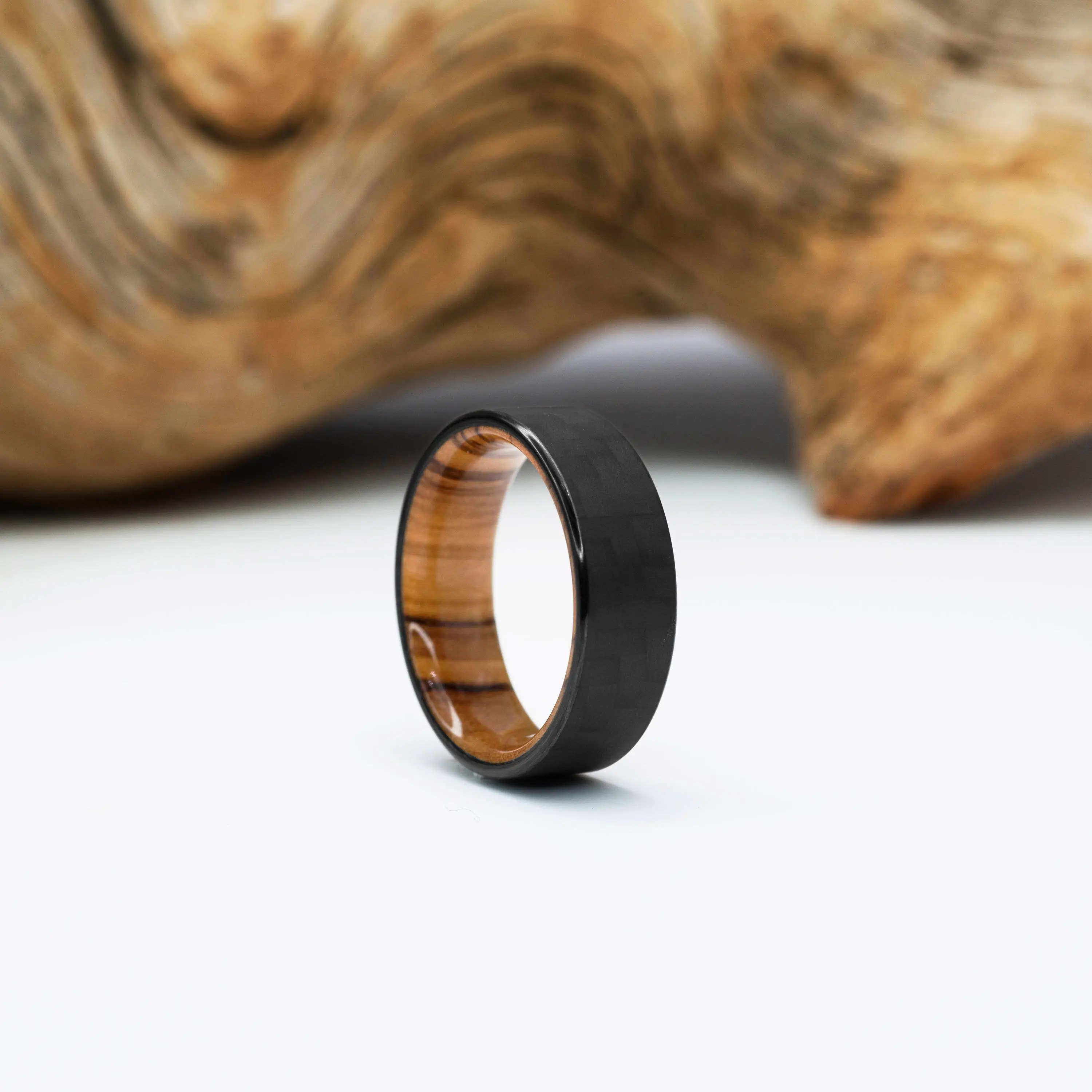 carbon fiber and olivewood ring wood wedding band mens ring waterproof finish