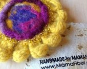 Woollen felted sunflower ...