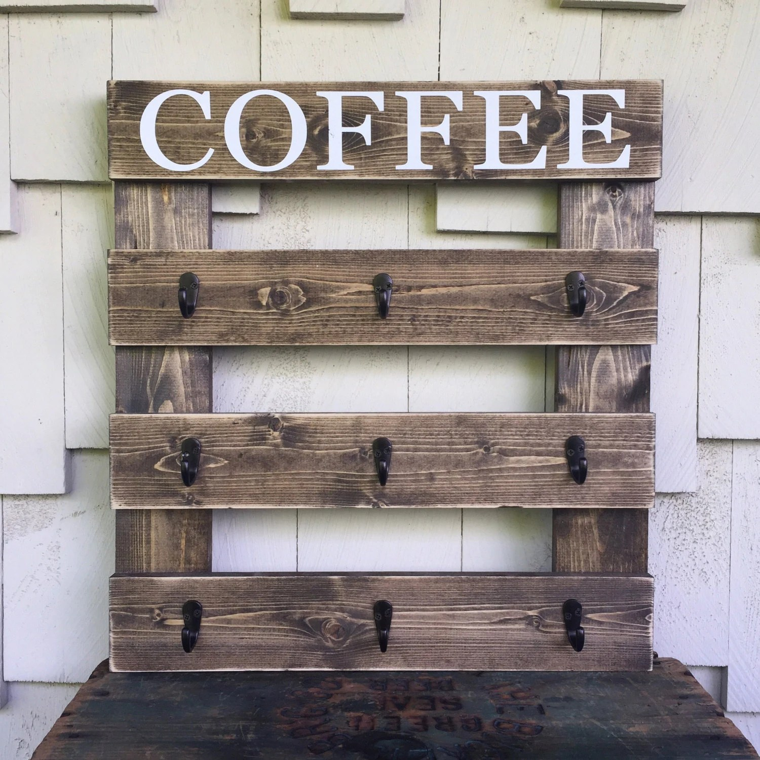 9 cup coffee rack coffee mug sign wood sign with hooks coffee cup hanger rustic kitchen decor