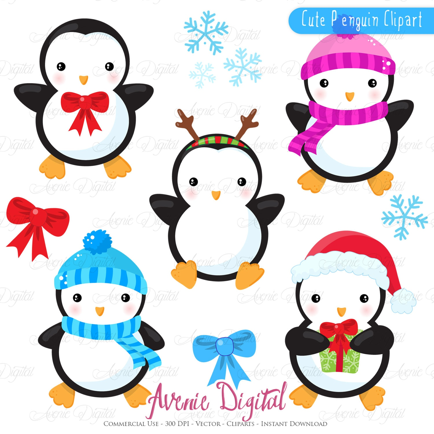 Christmas Penguins Clipart Scrapbook Printables Holiday Clip