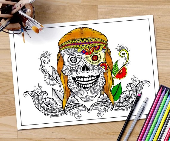 skull head coloring page for adults hippie skull printable
