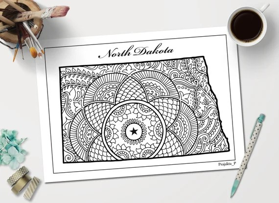 North Dakota Decorative Map Coloring Page For Adults United Etsy