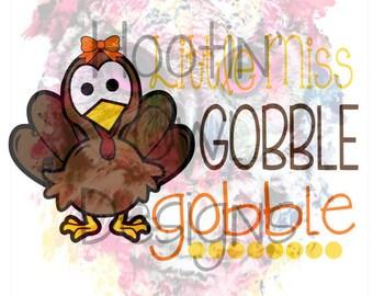 Download Little Miss Gobble Gobble Thanksgiving Turkey girl shirt ...