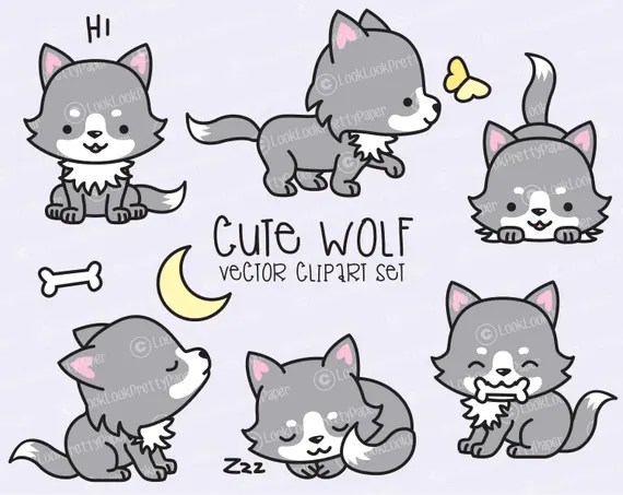 Premium Vector Clipart Kawaii Wolf Cute Wolves Clipart Set Etsy