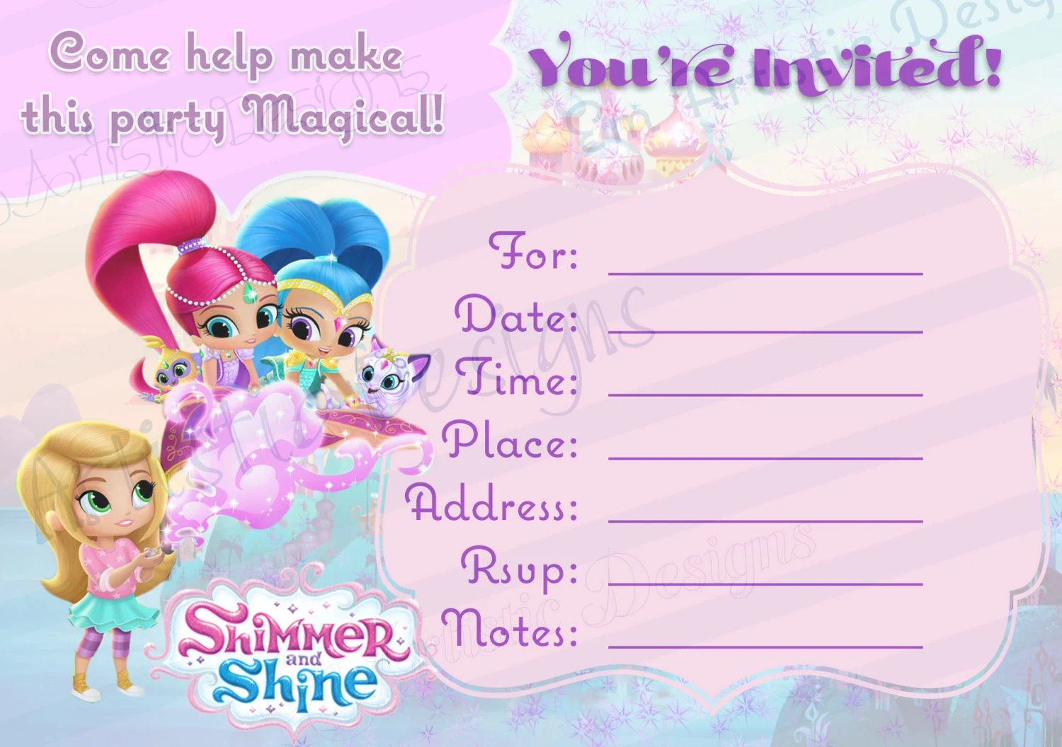 Instant Download Shimmer And Shine Fill In The Blank Etsy