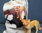 Animal bag cat toy drawst...