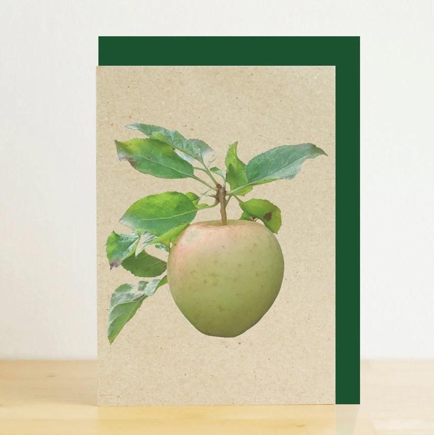 Green apple fruit print b...