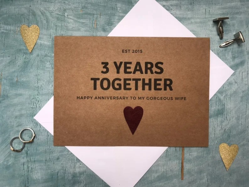 personalised custom third year wedding anniversary card rustic image 1