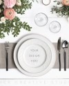 Styled Stock Photography Dinner Plate Setting Mockup For Etsy