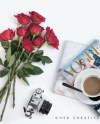 Styled Stock Photography Flatlay Image Red Roses Tea And Etsy