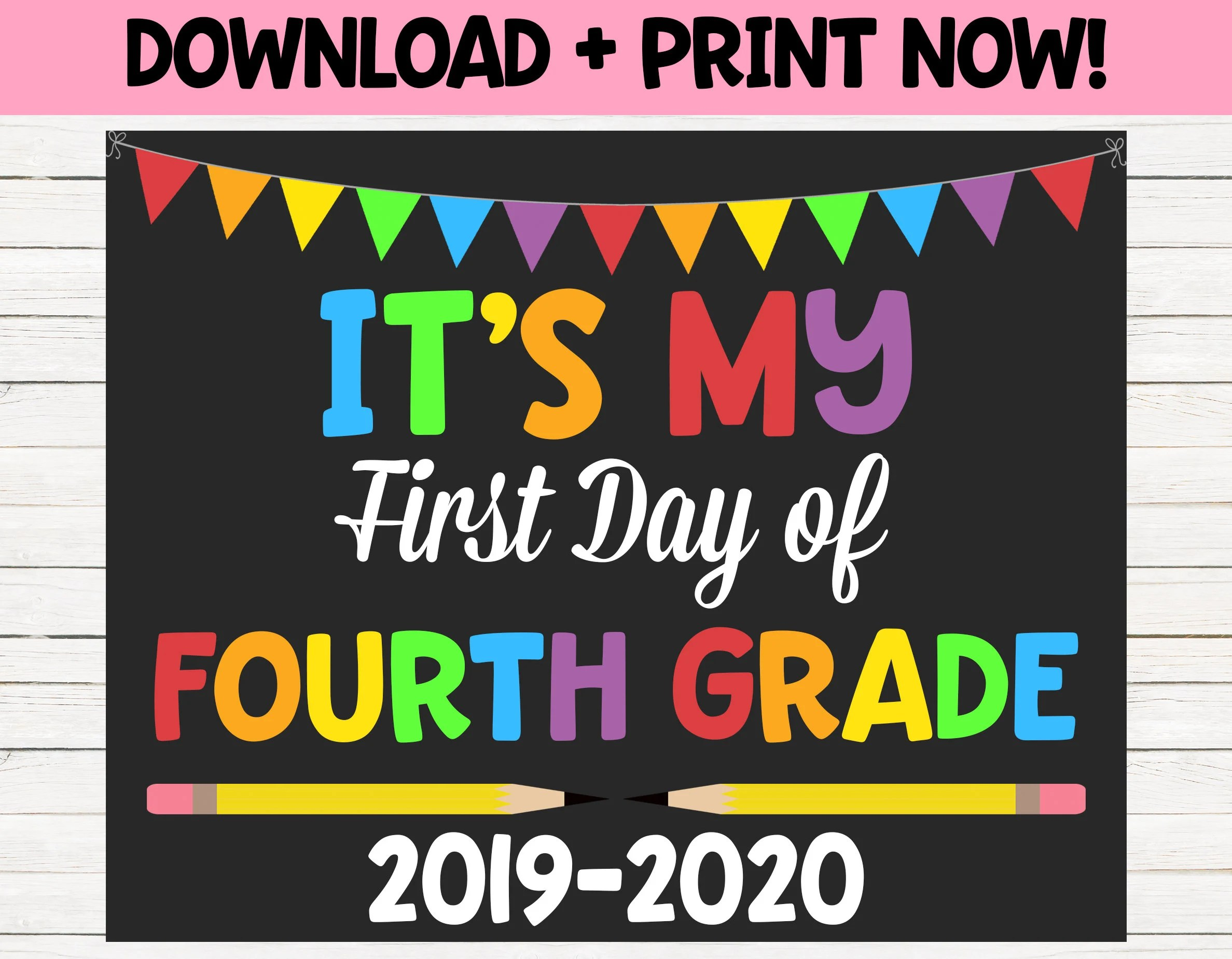 First Day Of School Sign Photo Prop Fourth Grade Sign