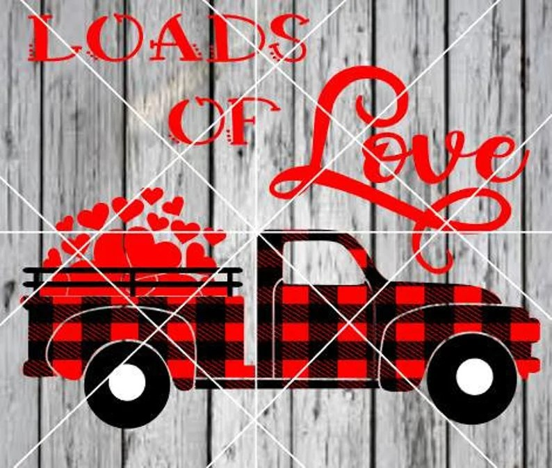 Download 2 SVGS Loads of Love trucks plaid hearts Valentine | Etsy