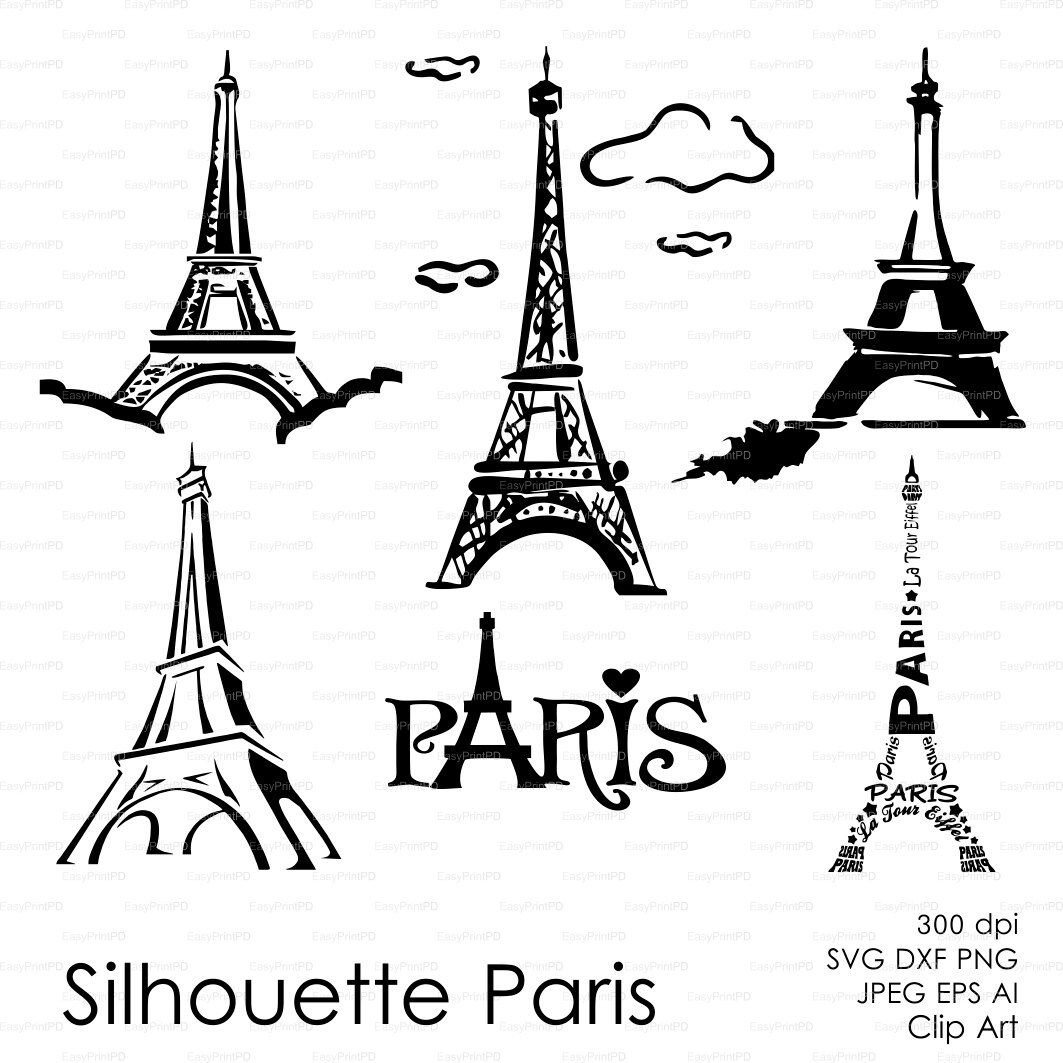 Silhouette Paris Eiffel Tower Eps Svg Dxf Ai French