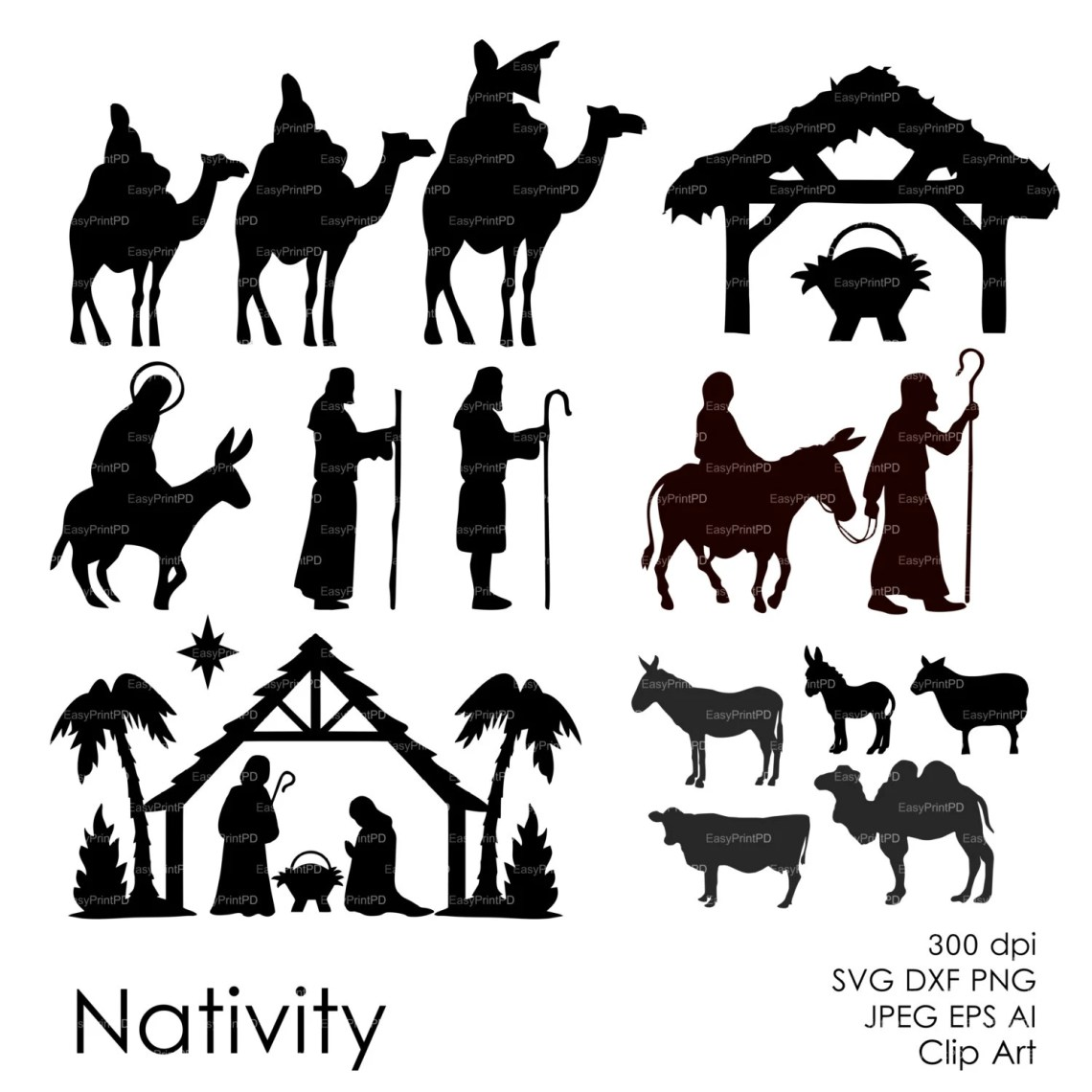 Download Nativity Christ silhouette Overlays Vector Digital ClipArt ...
