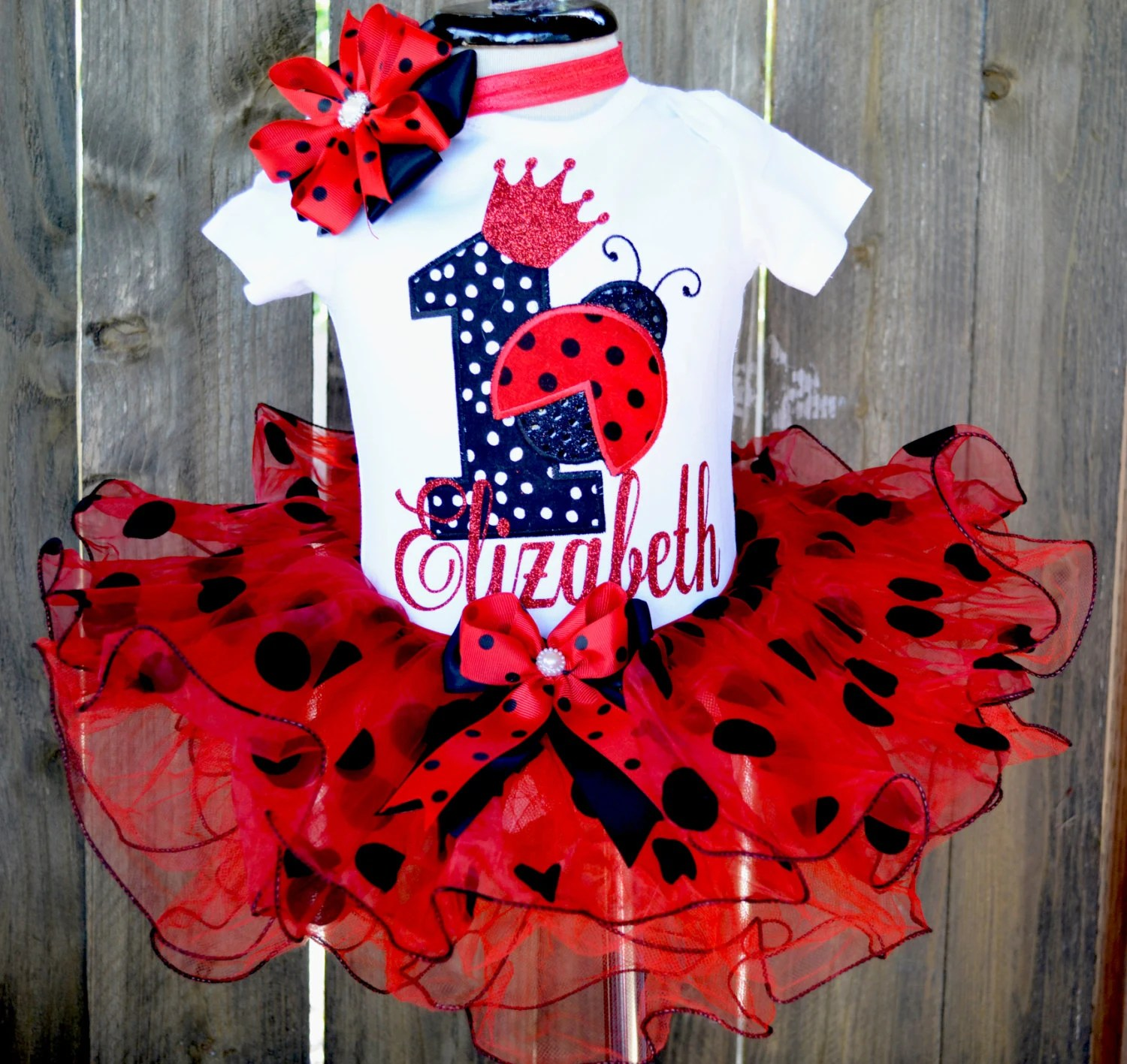 Baby Girl First Birthday Outfitladybug First Birthday Outfit Etsy