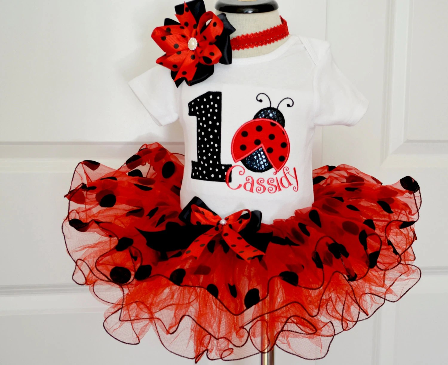 First Birthday Outfit Girl Ladybug Birthday Outfit Red Black Etsy