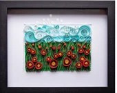 Quilled Vortex Poppy Landscape | Ready-to-Ship