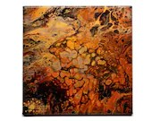 Abstract Autumn Cobblestone Fluid Acrylic Pour Painting