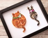 "Double Cats (Mixed) | Custom ""Original"" Scrollwork  Quilled Paper Cats"