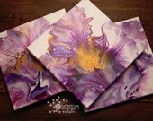 Abstract Purple and Gold Blooming Fluid Acrylic Pour Paintings