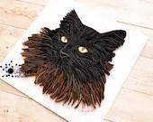Paper Pet Portrait | Cat Portrait | Dog Portrait | Quilled Paper Pet Art | Pet Memorial