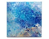 Abstract Blue & Gold Beachy Fluid Acrylic Pour Painting