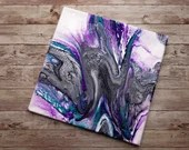 Purple Teal Silver and Black Stretch Pour 12x12 Abstract Fluid Acrylic Painting