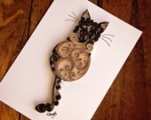 Coffee and Dark Chocolate Scrollwork Cat | Ready-to-Ship